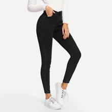 Black Ankle-Cut Skinny Jeans