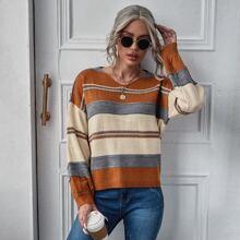Striped Colorblock Drop Shoulder Sweater