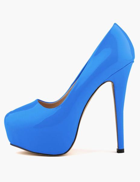 Milanoo Women's White Patent leather Platform Heels Round Toe Stiletto heel Pumps Heeled Shoes