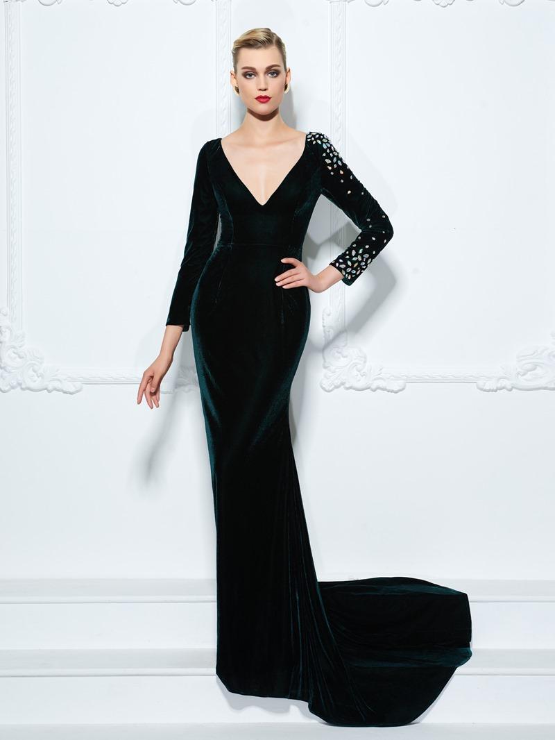 Ericdress Sheath V-Neck Long Sleeves Crystal Sweep Train Evening Dress
