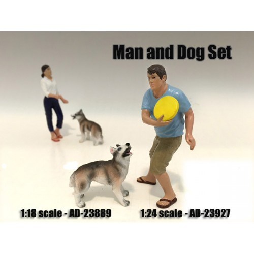 Man and Dog 2 Piece Figure Set For 118 Scale Models by American Diorama