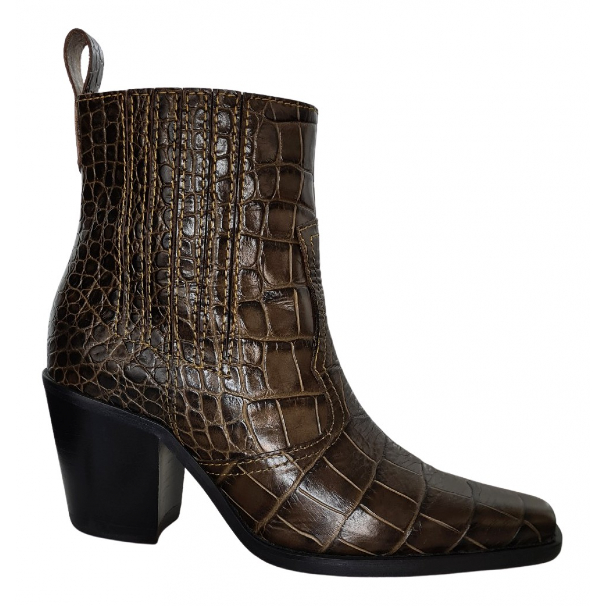 Ganni N Brown Leather Boots for Women 37 EU