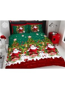 Santa Claus and Trees Christmas Bedding Forest Green 3D Printed 4-Piece Polyester Bedding Sets/Duvet Covers