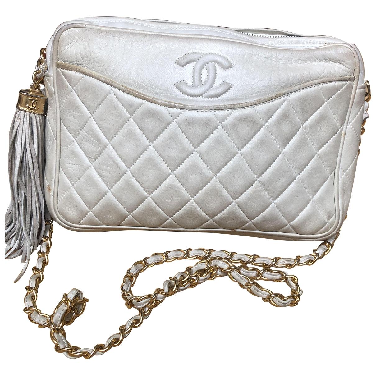 Chanel Camera Handtasche in  Ecru Leder