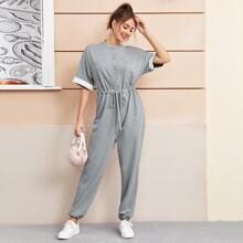 Drop Shoulder Buttoned Pocket Front Drawstring Waist Jumpsuit
