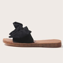 Open Toe Bow Decor Slide Sandals
