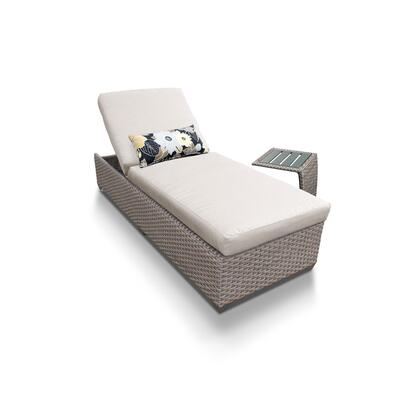 OASIS-1x-ST-BEIGE Oasis Chaise Outdoor Wicker Patio Furniture With Side Table with 2 Covers: Grey and