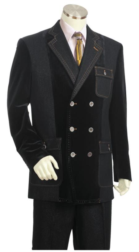 Mens Double Breasted Stitch Accent Zoot Suit Black