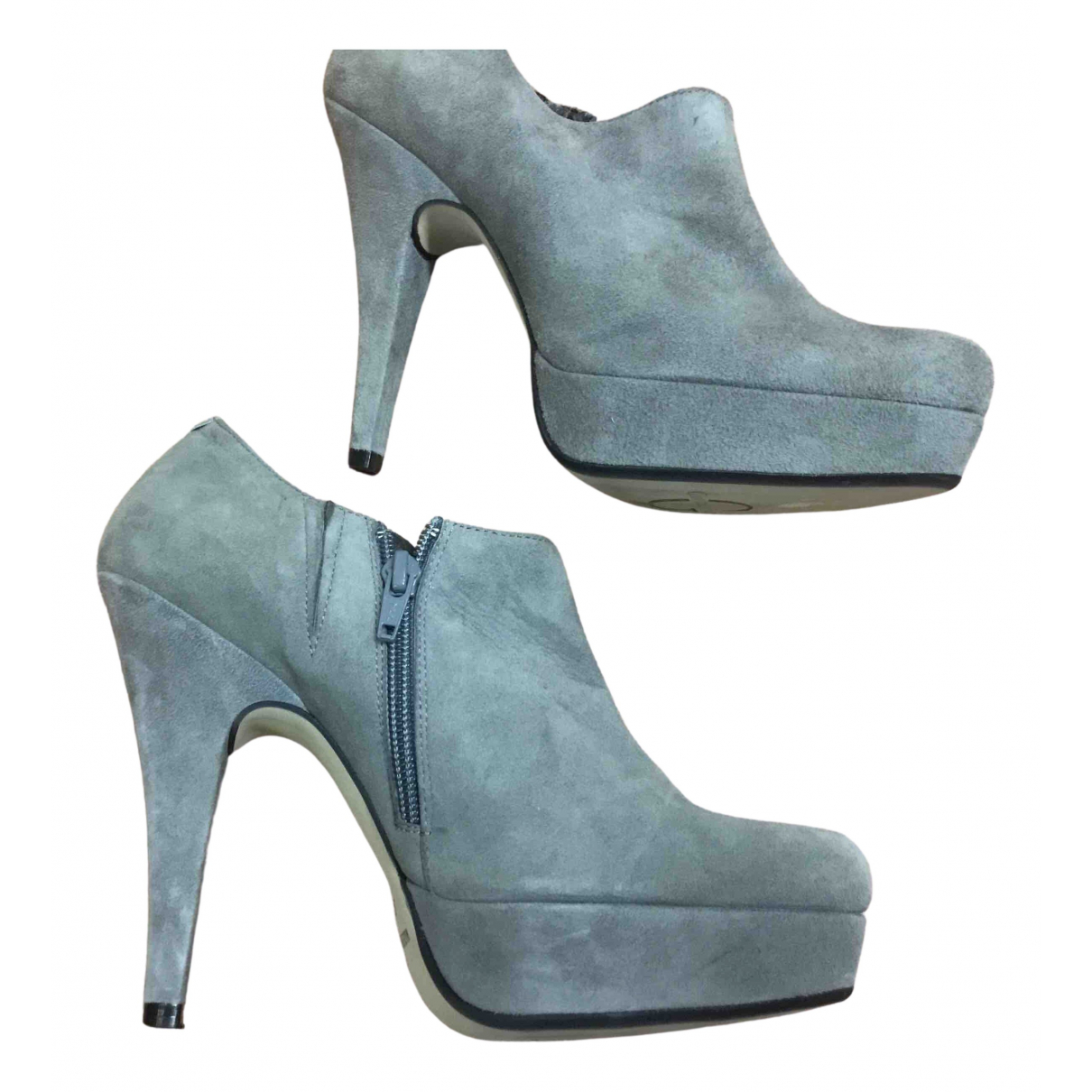 Non Signé / Unsigned \N Grey Suede Ankle boots for Women 38 EU