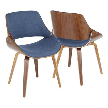 CH-FBZZNL WL+BU Fabrizzi Mid-Century Modern Dining/Accent Chair in Walnut and Denim Blue- Set of