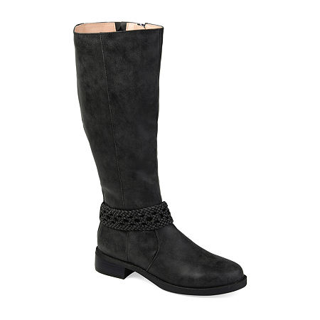 Journee Collection Womens Paisley Stacked Heel Riding Boots, 6 Medium, Black