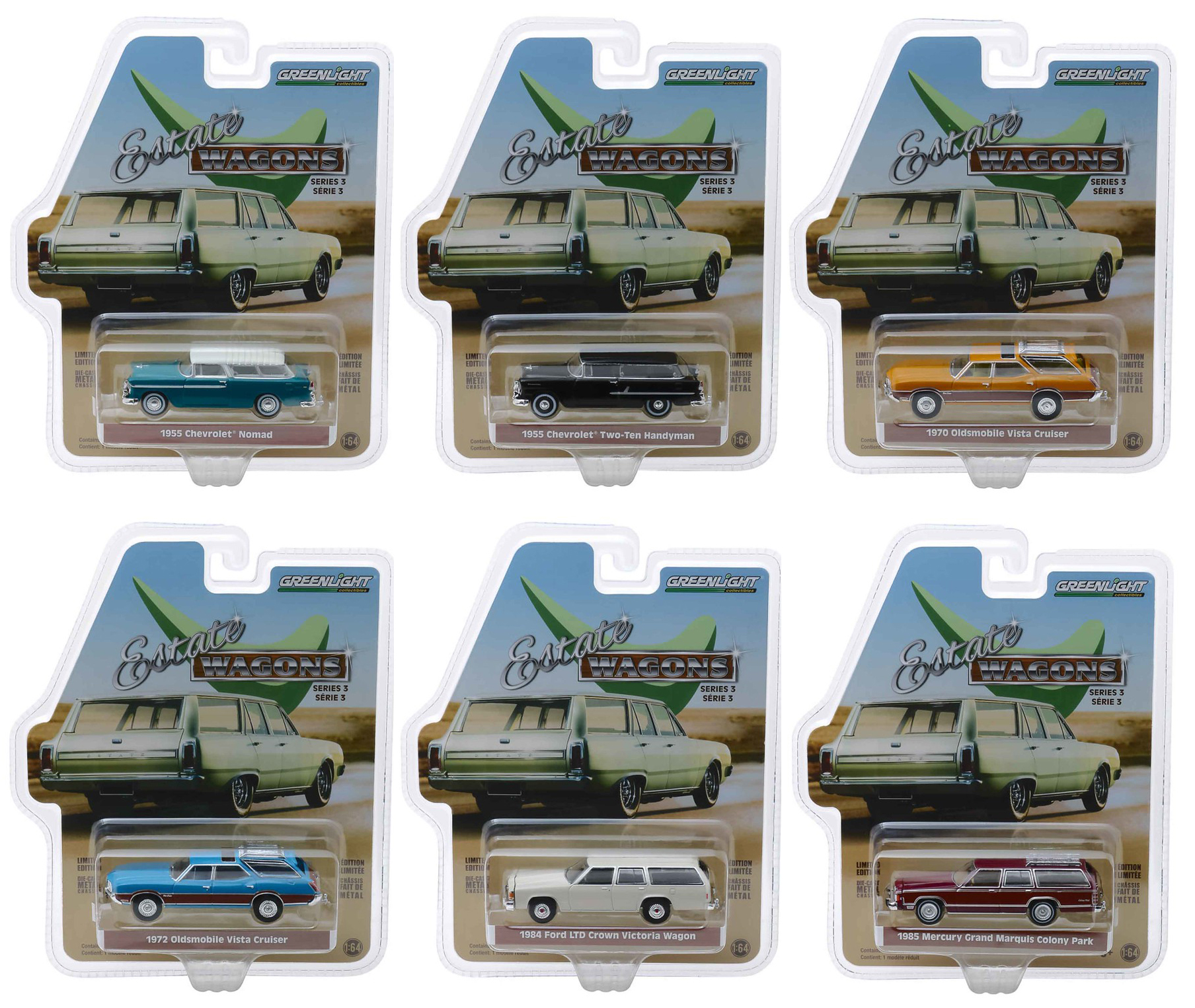Estate Wagons Series 3 Set of 6 Cars 1/64 Diecast Models by Greenlight