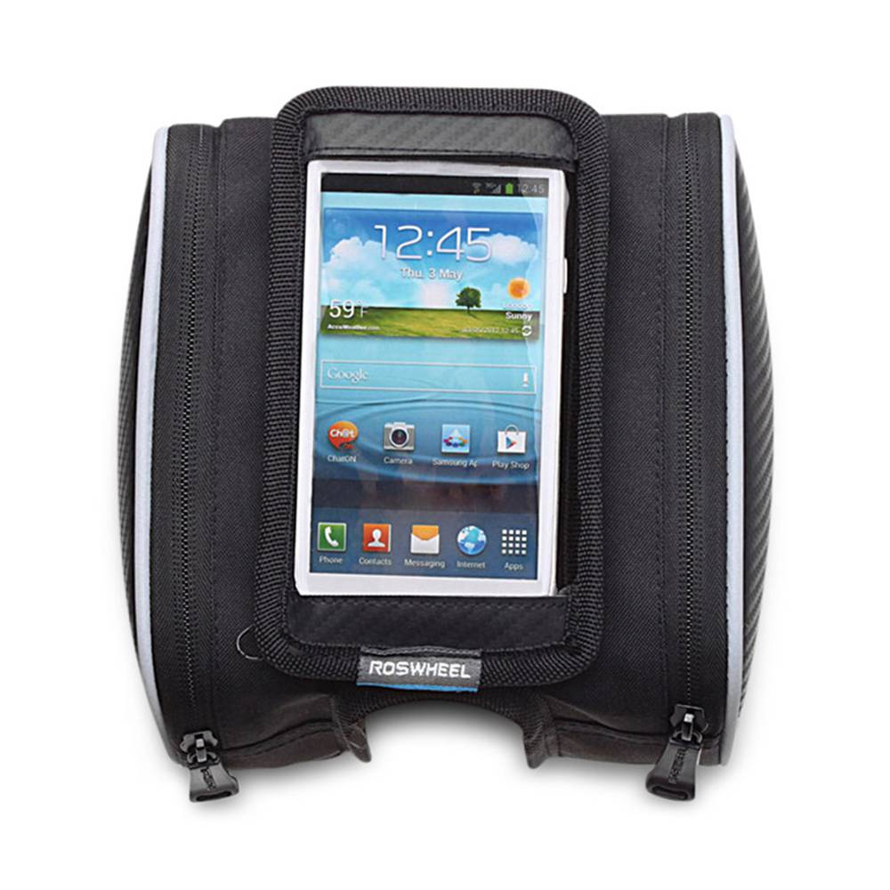ROSWHEEL 12813 Front Tube Double Pouch Bike Phone Bag 5.5 Inch  Bicycle Bag - Black