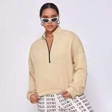 Plus Zip Front and Sleeve Pouch Pocket Pullover