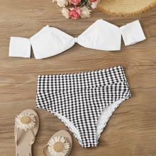 Top und Bikini Set mit hoher Taille