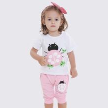 Baby Girl Cartoon Ladybird And Leaf Print Tee & Shorts