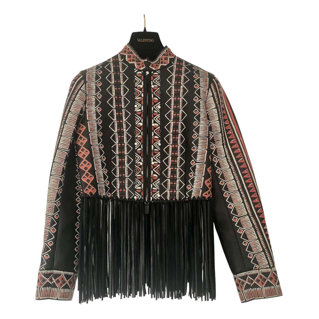 Valentino Garavani - Veste   pour femme en cuir - multicolore