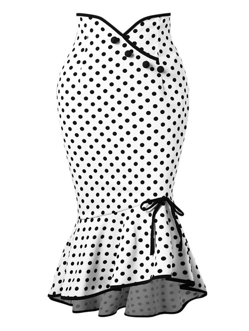 Ericdress Polka Dots Bowknot Mermaid Womens Skirt