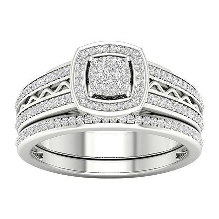 Womens 3/8 CT. T.W. Genuine White Diamond 10K Gold Bridal Set, 7 , No Color Family