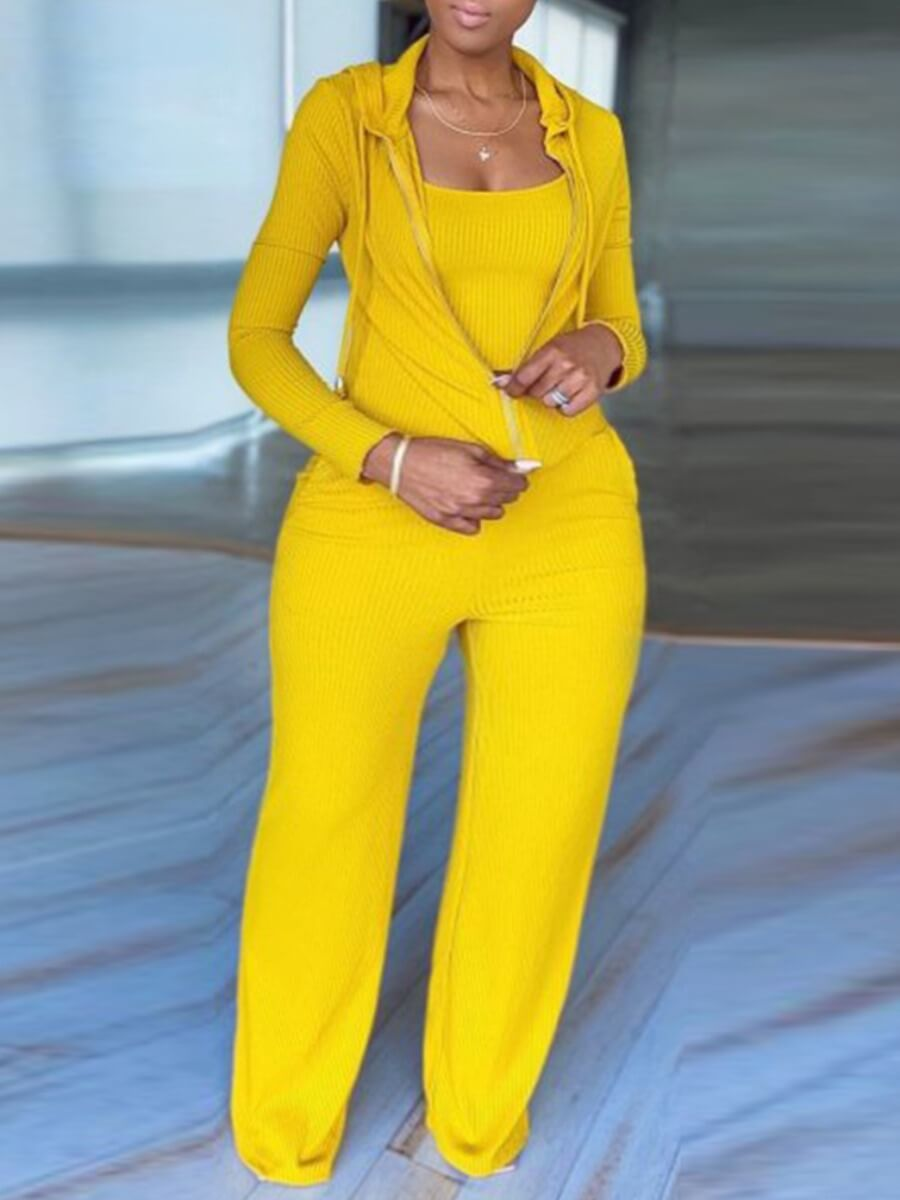 LW Lovely Casual Hooded Collar Zipper Design Yellow Plus Size Two-piece Pants Set
