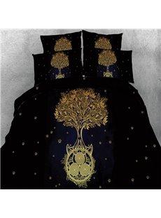 Chic Golden Tree Print 5-Piece Comforter Sets