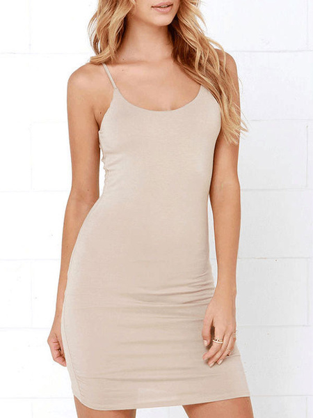 Milanoo Bodycon Dresses Spaghetti Light Apricot U-Neck Backless Sexy Pencil Dress