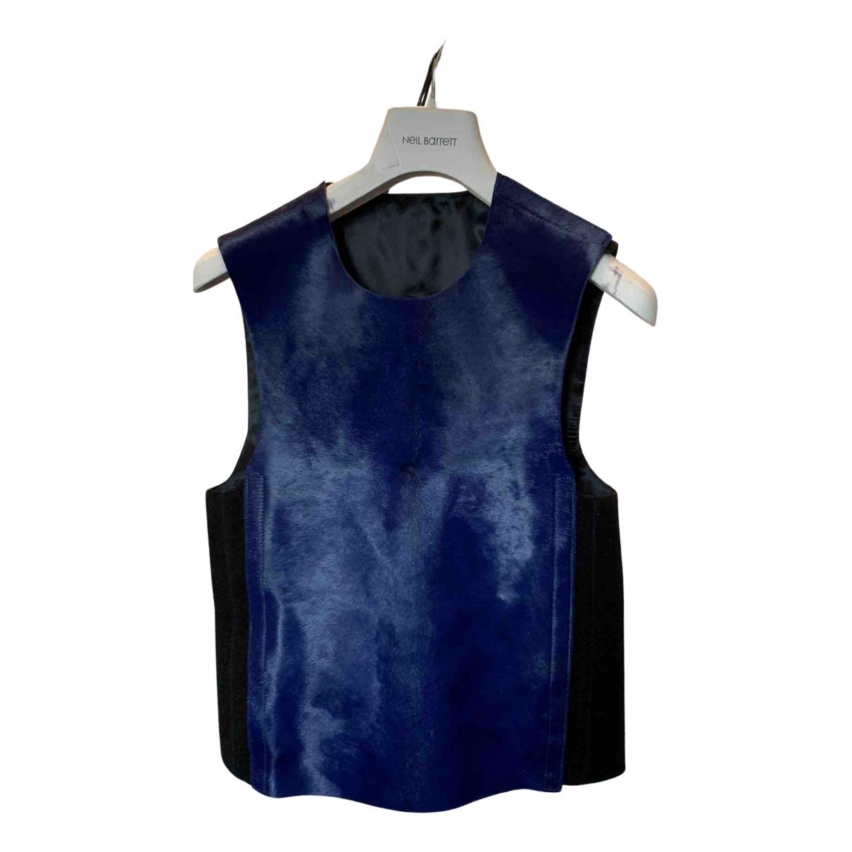 Neil Barrett - Top   pour femme en cuir - bleu