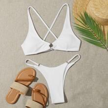 Criss Cross Back Tanga Bikini Swimsuit