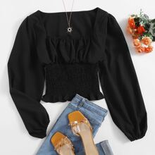 Solid Ruched Rust Shirred Blouse