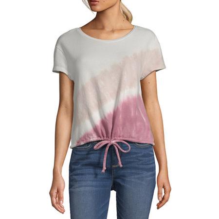 a.n.a Womens Crew Neck Short Sleeve Sweatshirt, Small , Pink