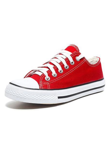 Milanoo Zapatos de lona de las mujeres punta redonda negra cordones planos zapatos casuales
