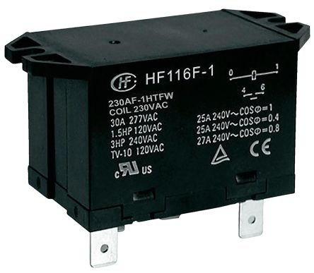 Hongfa Europe GMBH , 230V ac Coil Non-Latching Relay SPNO, 30A Switching Current Flange Mount Single Pole