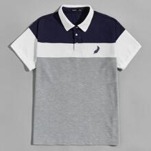 Polo Shirt mit Feder Muster und Farbblock
