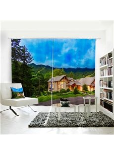 Cabin in the Jungle and Blue Sky Pattern 3D Polyester Curtain