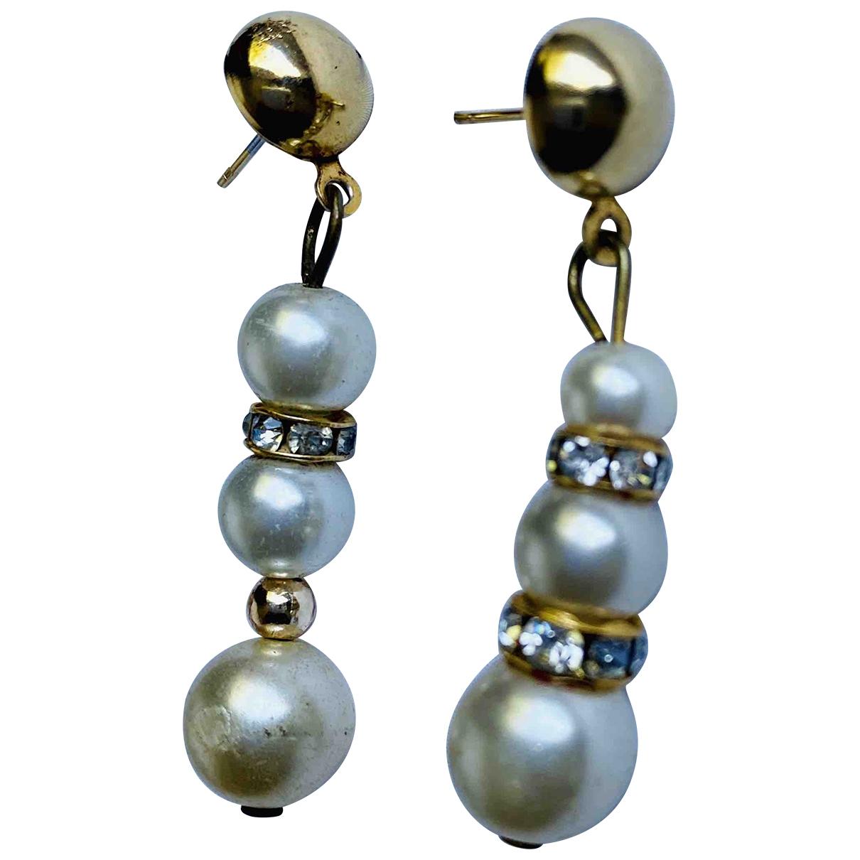 - Boucles doreilles   pour femme en perles - blanc