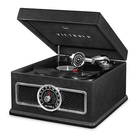 Victrola VTA-800B 5-in-1 Nostalgic Bluetooth Record Player with CD, Radio, Record Storage and 3-Speed Turntable., One Size , Black