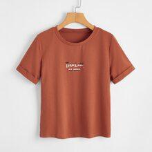 T-Shirt mit Buchstaben Grafik und kurzen Ärmeln
