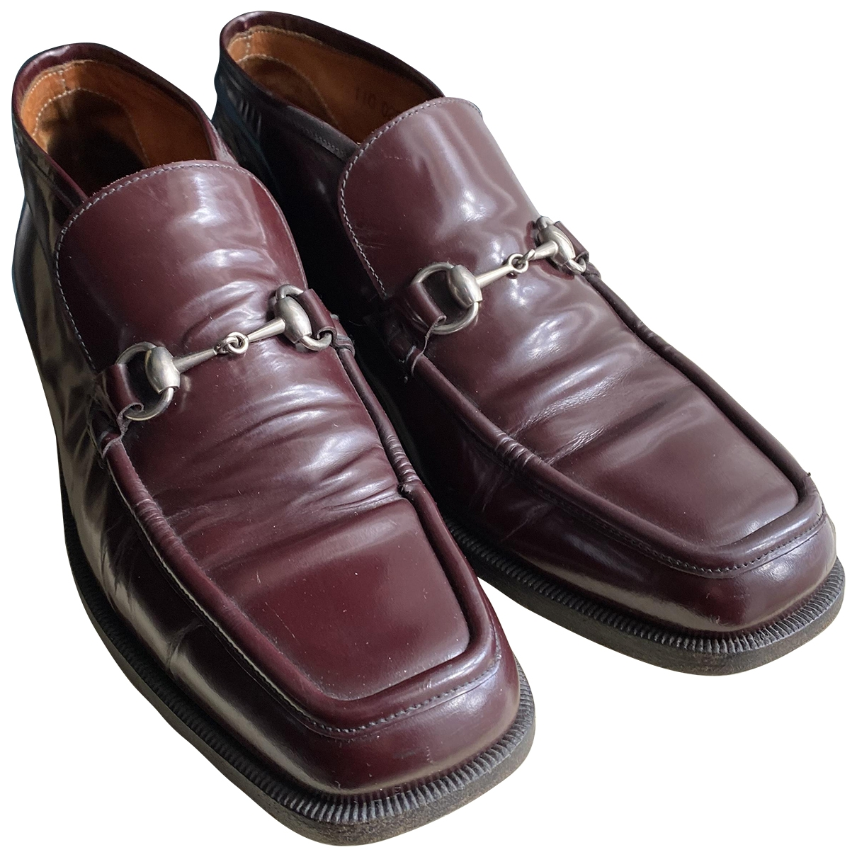 Gucci \N Burgundy Leather Flats for Men 41 EU