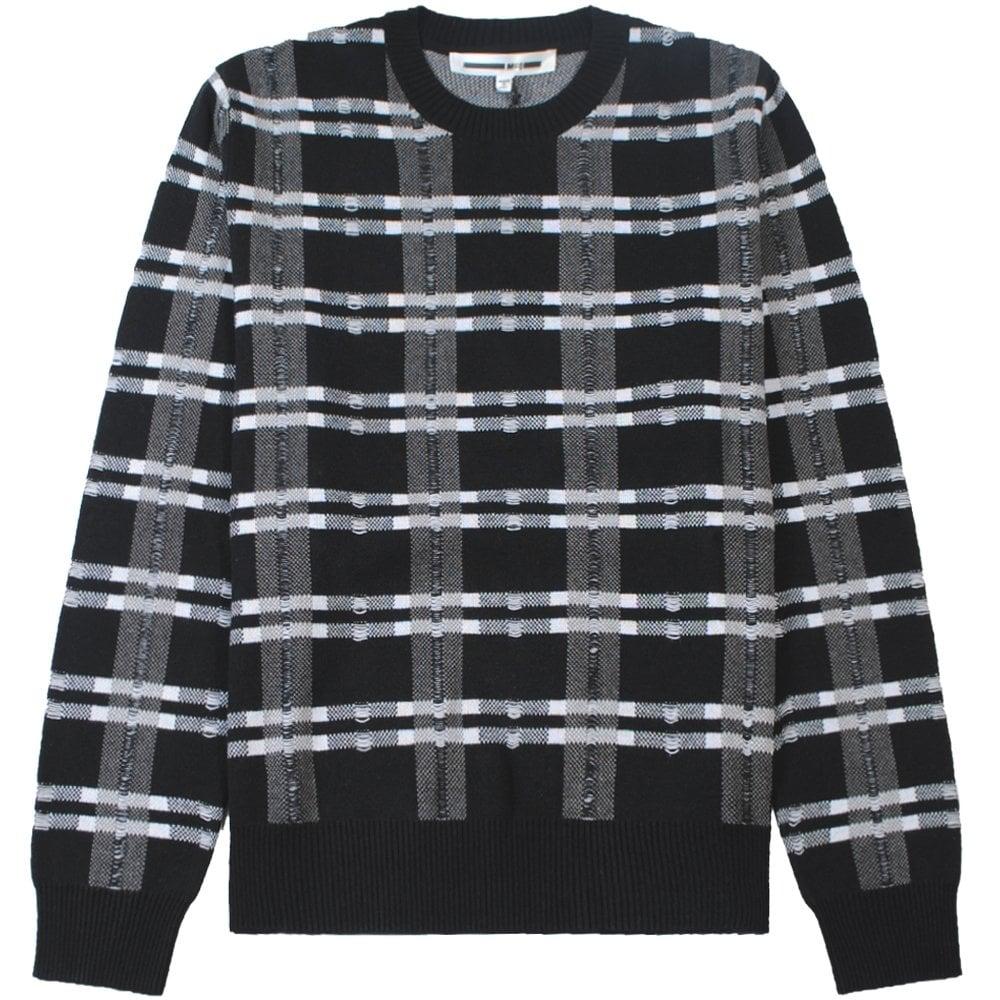 McQ Alexander McQueen Checkered Crew Neck Jumper Colour: BLACK, Size: MEDIUM