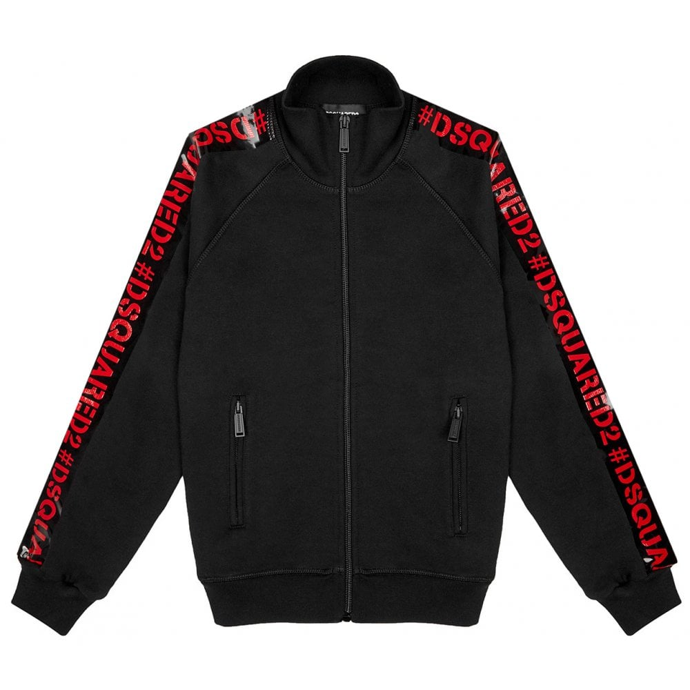 Dsquared2 Tape Logo Zip Top Colour: BLACK, Size: 16 YEARS