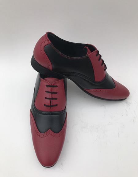 Men's Wingtip Lace Up Style Burgundy ~ Black 2toned color Dress Shoes