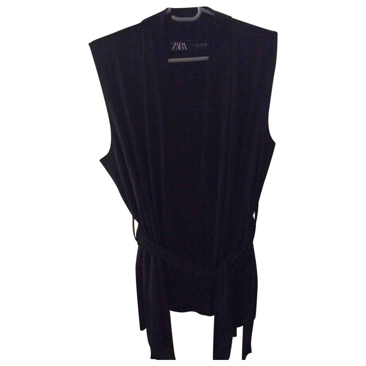 Zara - Pull   pour femme en suede - noir