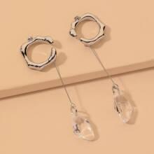 2 Stuecke Ohrringe mit Kristall Dekor
