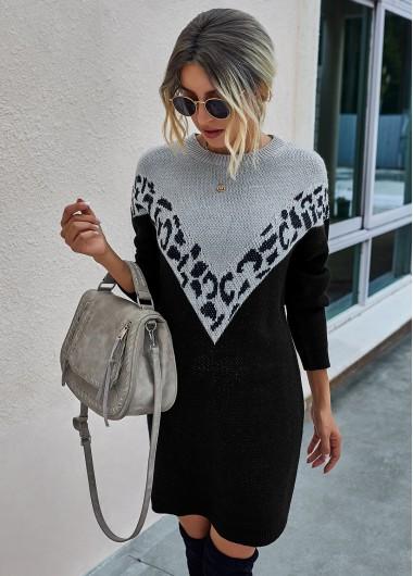 Cocktail Party Dress Contrast Long Sleeve Leopard Sweater Dress - L