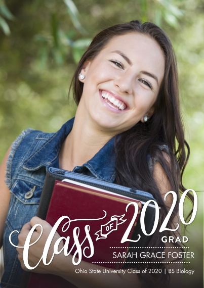 2020 Graduation Announcements 5x7 Cards, Premium Cardstock 120lb with Scalloped Corners, Card & Stationery -2020 Class of Banner by Tumbalina