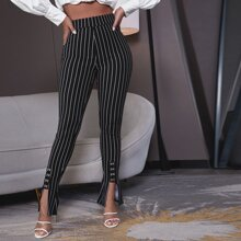 Schmale Hose mit Streifen Muster und asymmetrischem Saum