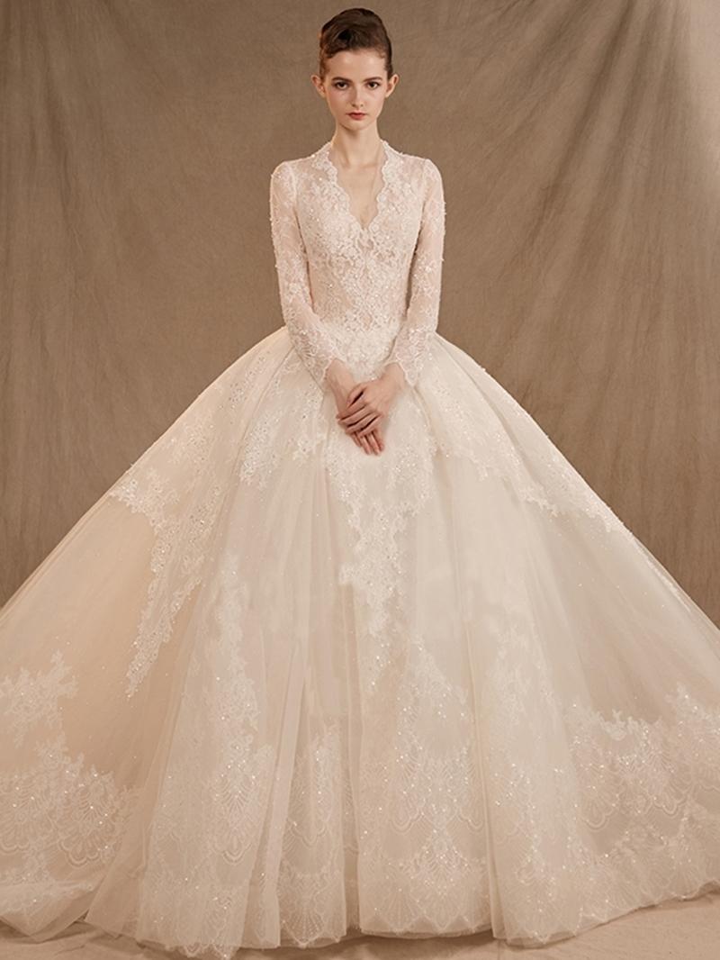 Ericdress V-Neck A-Line Court Lace Hall Wedding Dress 2020