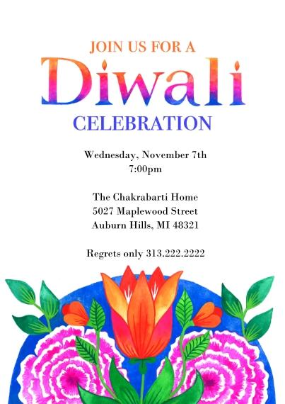 Diwali Cards 5x7 Cards, Standard Cardstock 85lb, Card & Stationery -Bright Diwali Invitation