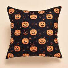 Kissenbezug mit Halloween Kuerbis Muster ohne Fuellstoff