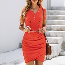 Asymmetrical Neck Ruched Hem Fitted Dress